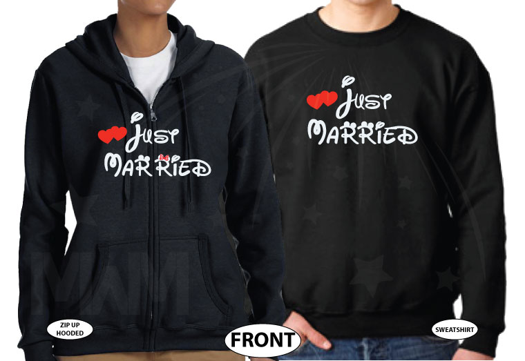 Cute I'm Her Prince I'm His Princess Wedding Date Just Married Matching Couple Shirts married with mickey black zip up and sweater