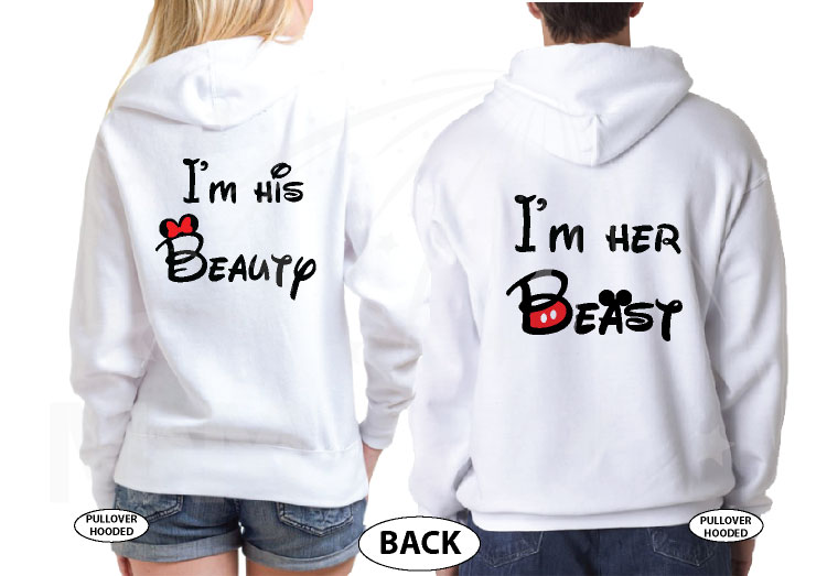 I'm His Beauty I'm Her Beast Back Disney Font Design married with mickey white hoodies