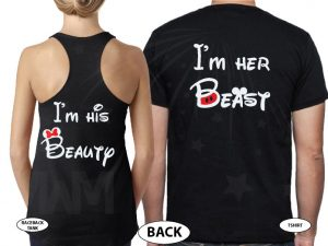 I'm His Beauty I'm Her Beast Back Disney Font Design married with mickey black tee and tank