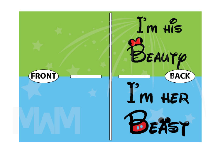 I'm His Beauty I'm Her Beast Back Disney Font Design married with mickey