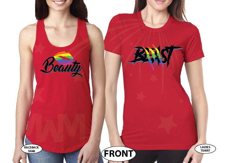 LGBT Lesbian Matching Shirts Beast With Lion Scratch Rainbow Colors Beauty With Cute Lips Rainbow Colors married with mickey red tshirts