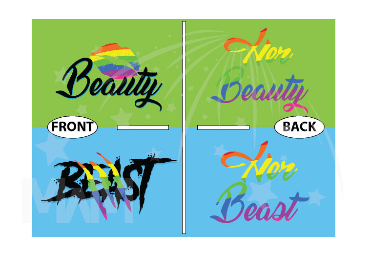 LGBT Lesbian Matching Shirts Beast With Lion Scratch Rainbow Colors Beauty With Cute Lips Rainbow Colors married with mickey