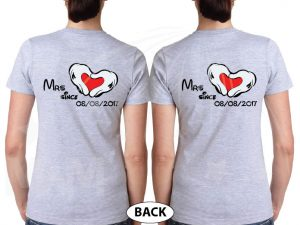 500483 LGBT Lesbian I'm Her Beauty I'm Her Beast Mrs Since Wedding Custom Date Minnie Mouse Hands in Heart Shape married with mickey grey tshirts