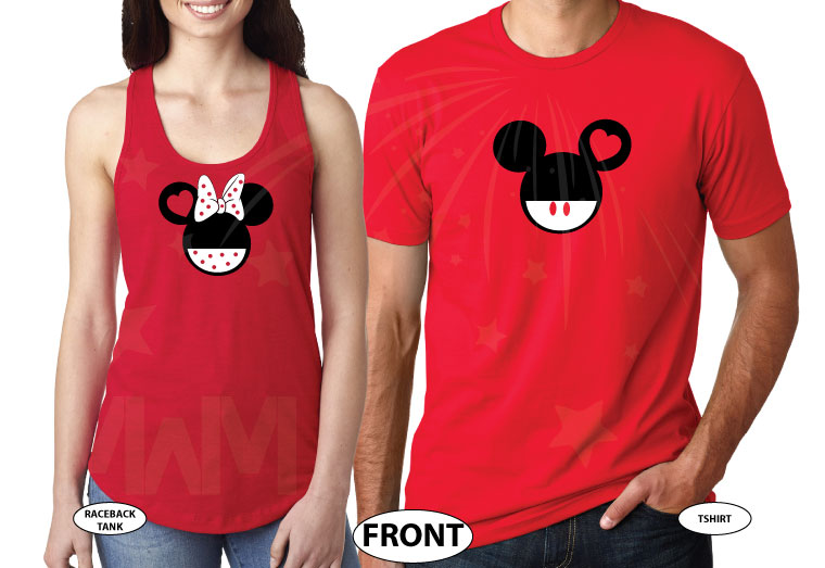 Disney Cute Matching Shirts Together Since Forever Mickey Minnie Mouse Head married with mickey red tee and tank