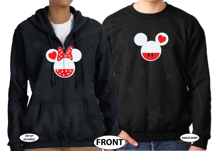 Disney Cute Matching Shirts Together Since Forever Mickey Minnie Mouse Head married with mickey black sweaters