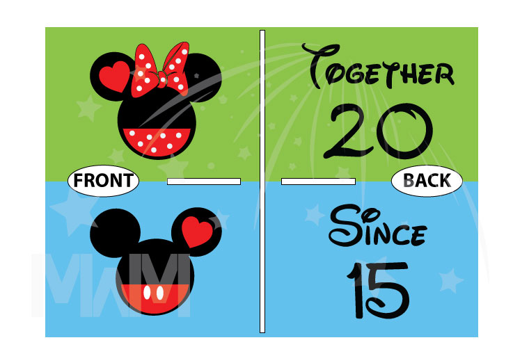 Disney Cute Matching Shirts Together Since Forever Mickey Minnie Mouse Head married with mickey