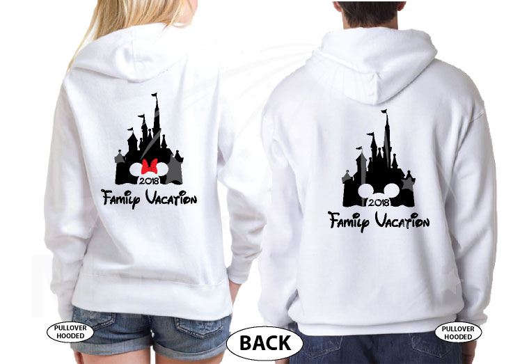 Cute Mickey Dad Of Birthday Boy (Girl), Minnie Mouse Mom Of Birthday Boy (Girl) Disney Cinderella Castle Family Vacation 2018 married with mickey white sweaters