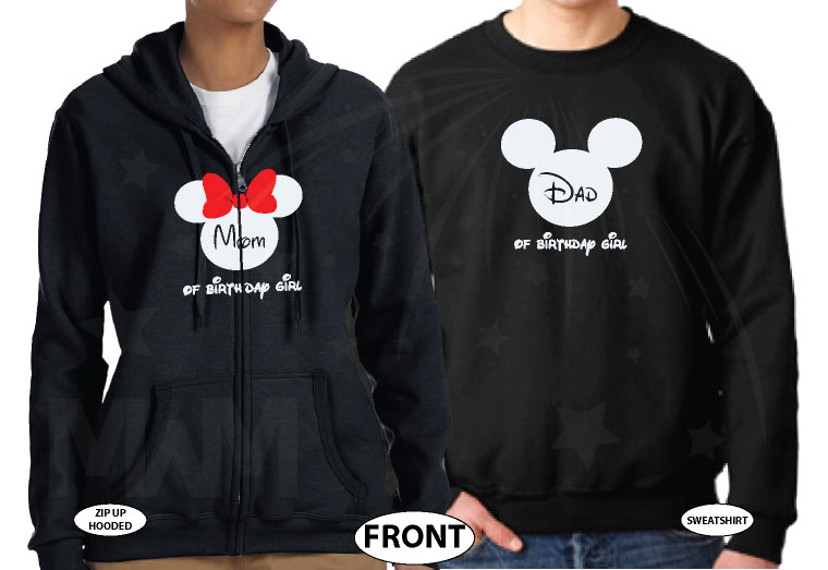 Cute Mickey Dad Of Birthday Boy (Girl), Minnie Mouse Mom Of Birthday Boy (Girl) Disney Cinderella Castle Family Vacation 2018 married with mickey black sweaters