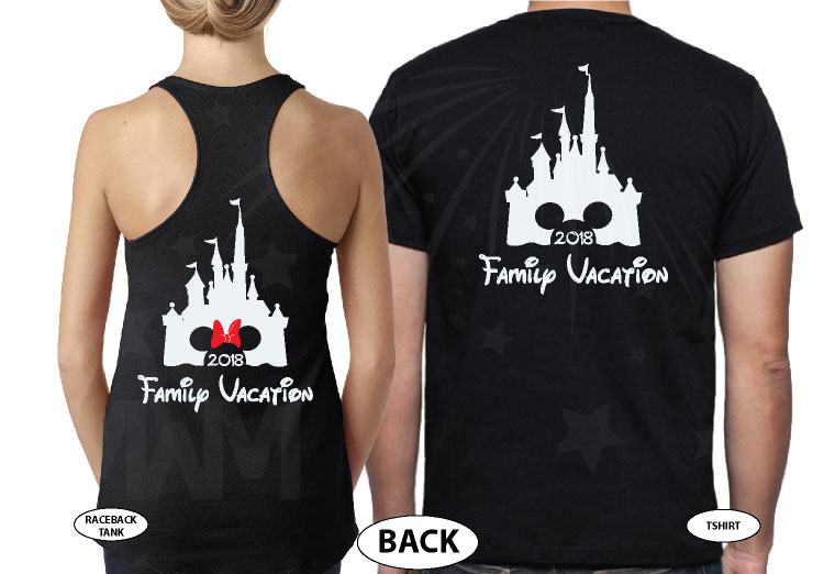 Cute Mickey Dad Of Birthday Boy (Girl), Minnie Mouse Mom Of Birthday Boy (Girl) Disney Cinderella Castle Family Vacation 2018 married with mickey black tee and tank