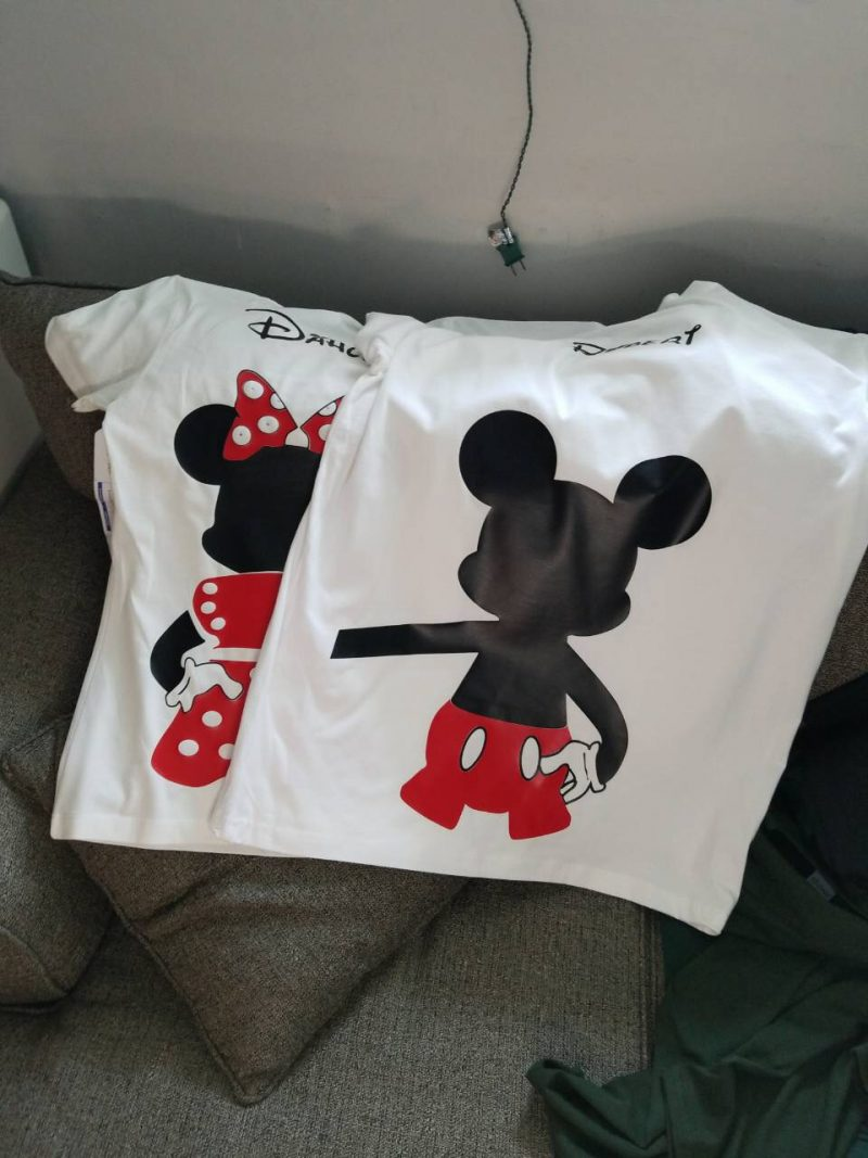 Mr and Mrs Mickey Minnie Mouse Disney Cute Holding Hands married with mickey white tshirts