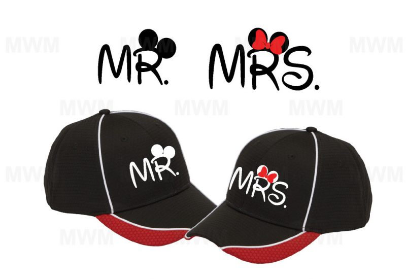 Matching Couples Hats for Mr Mrs, Soul Mate, Prince Princess, Mickey Minnie, Ears Bow, Just Married, self-adhesive closure back married with mickey