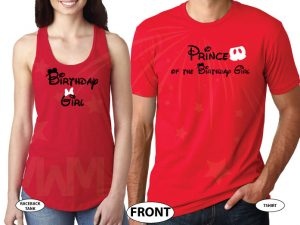 Prince of the Birthday Girl, Birthday Girl, I'm His Princess, I'm Her Prince, Disney Cinderella Castle With Wedding Date married with mickey red tank top and tshirt