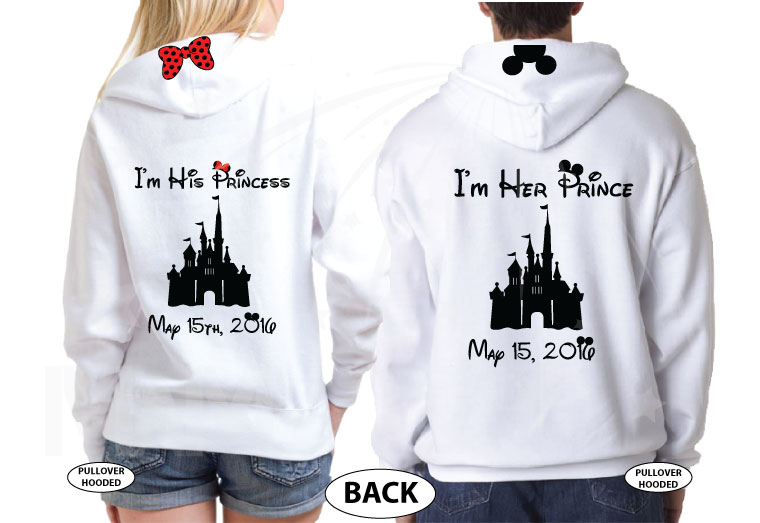 Prince of the Birthday Girl, Birthday Girl, I'm His Princess, I'm Her Prince, Disney Cinderella Castle With Wedding Date married with mickey white hoodies