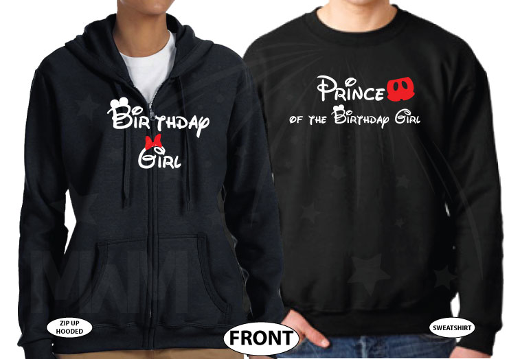 Prince of the Birthday Girl, Birthday Girl, I'm His Princess, I'm Her Prince, Disney Cinderella Castle With Wedding Date married with mickey black zip up and sweater