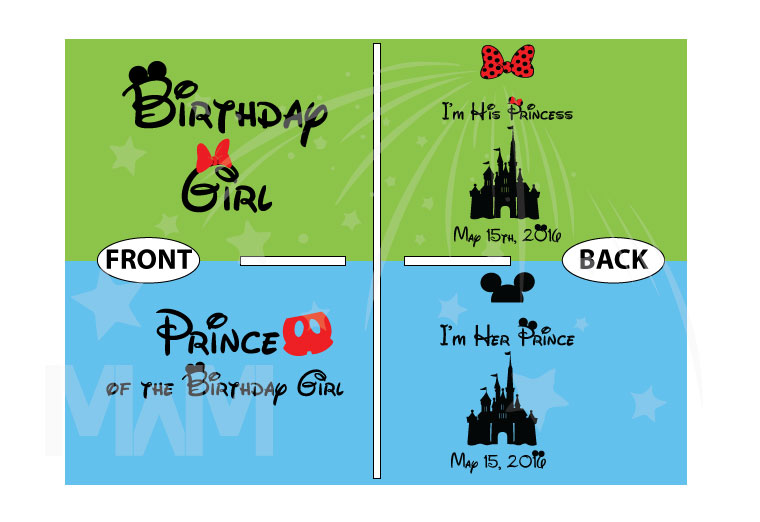 Prince of the Birthday Girl, Birthday Girl, I'm His Princess, I'm Her Prince, Disney Cinderella Castle With Wedding Date married with mickey