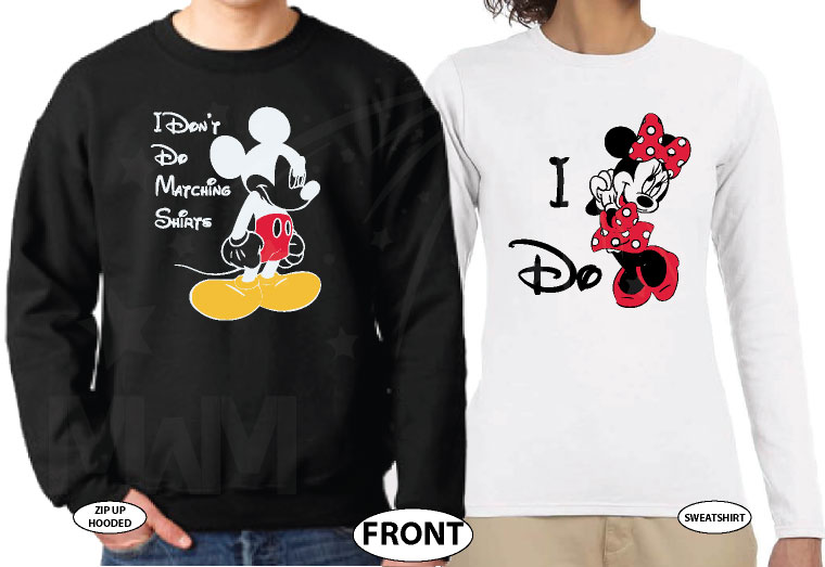 I Don't Do Matching Shirts Angry Mickey Mouse, I do Minnie Mouse married with mickey black sweater and white long sleeve