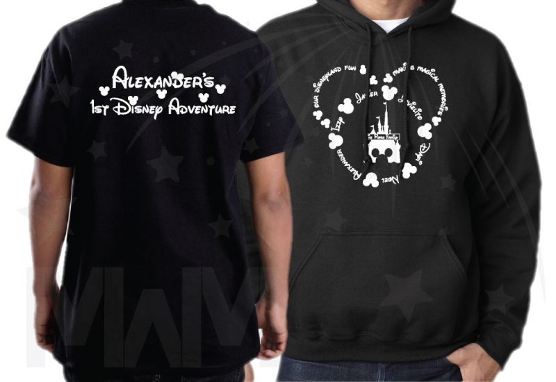 Disney Family Shirts, Mickey Head Outline With Your Names married with mickey black hoodie and tshirt