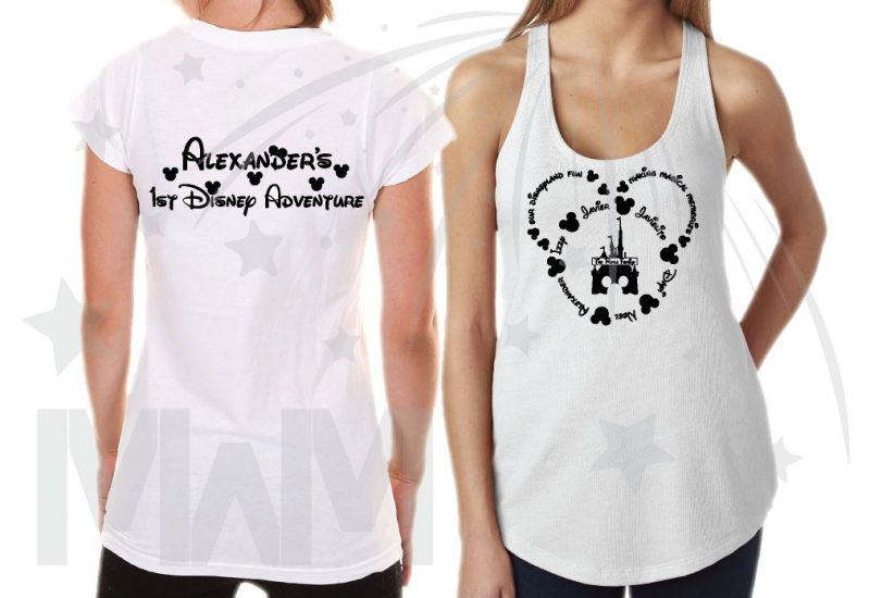 Disney Family Shirts, Mickey Head Outline With Your Names married with mickey white tshirt and tank top