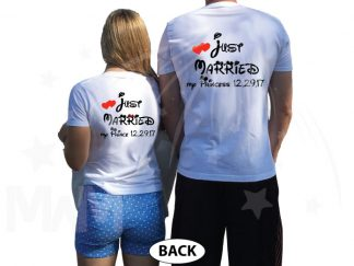 500076 Just Married My Princess, My Prince Matching Shirts For Mrs and Mr With Special Day, Wedding Date married with mickey mwm white tshirts