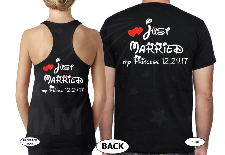 500076 Just Married My Princess, My Prince Matching Shirts For Mrs and Mr With Special Day, Wedding Date married with mickey mwm black tshirts