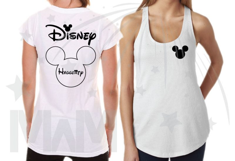 Matching Family Shirts, Mickey Mouse Head Logo, Disney Shirts With Custom Names married with mickey white tshirt and tank top