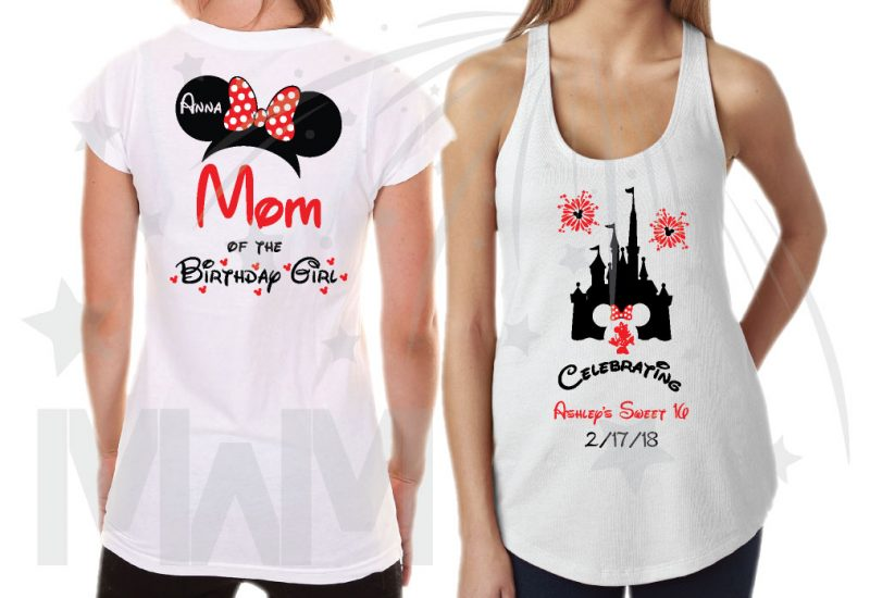 Birthday Shirts for Friends and Family Members, Birthday Girl (Boy) Sweet 16, Minnie Mouse Head With Polka Dots Bow, Mom of the Birthday Girl, Bestie of the Birthday Girl white tshirt and tank topa