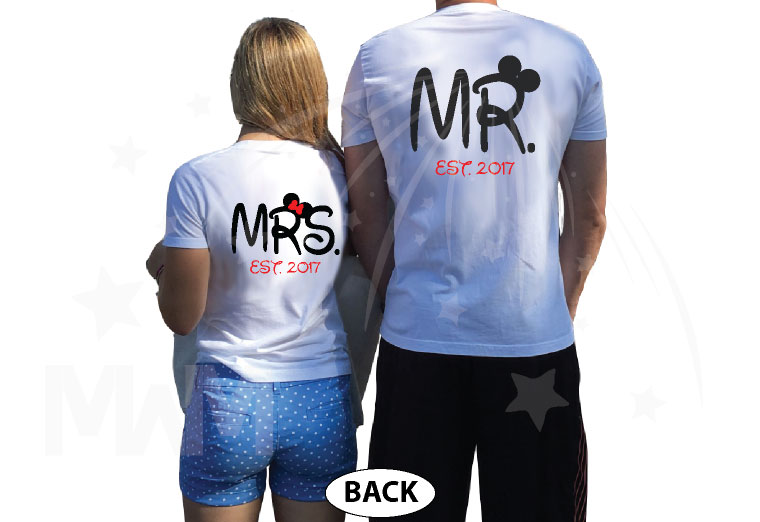 Mr Mrs Est 2017 Matching Couple Shirts Disney Font, This Is Happily Ever After, Married With Mickey white tees