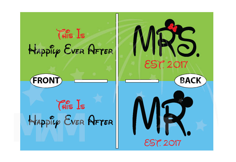 Mr Mrs Est 2017 Matching Couple Shirts Disney Font, This Is Happily Ever After, Married With Mickey