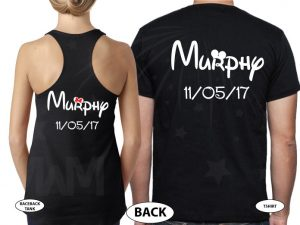 500063 Mr and Mrs Shirts With last Name and Wedding Date married with mickey black hoodies