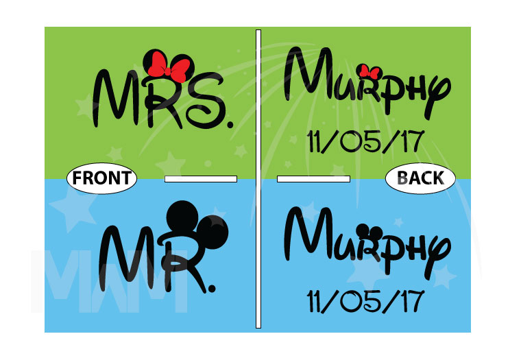 500063 Mr and Mrs Shirts With last Name and Wedding Date married with mickey