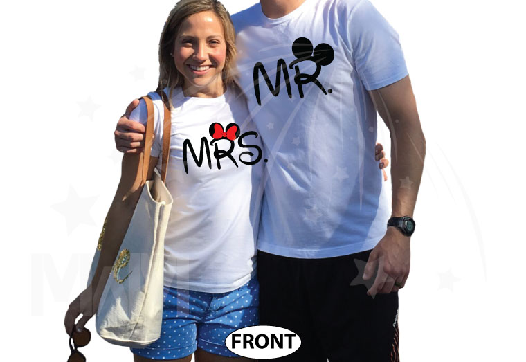 500063 Mr and Mrs Shirts With last Name and Wedding Date married with mickey white tees