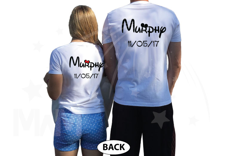 500065 Mr and Mrs Cute Matching Couple Shirts With Last Name and Wedding Date, Kissing Little Mickey Minnie Mouse married with mickey white tshirts