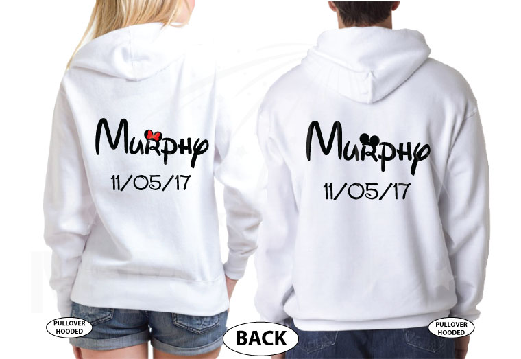 500065 Mr and Mrs Cute Matching Couple Shirts With Last Name and Wedding Date, Kissing Little Mickey Minnie Mouse married with mickey white pullovers