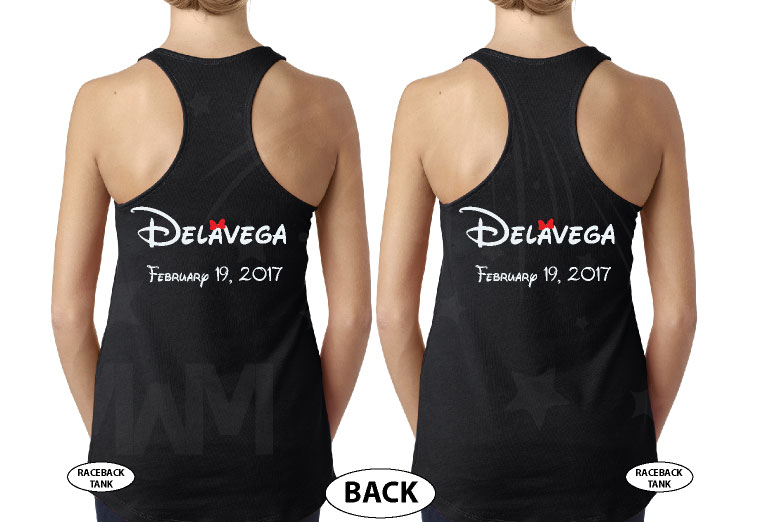 LGBT Lesbian Rainbow Design Beauty and Beast , Last Name and Wedding Date married with mickey black tank tops