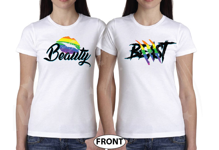 LGBT Lesbian Rainbow Design Beauty and Beast , Last Name and Wedding Date married with mickey white tees