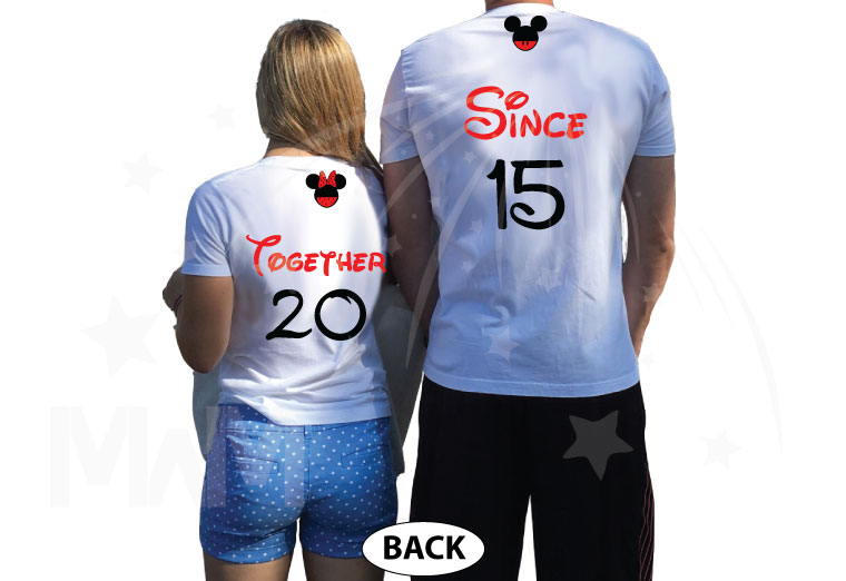 Disney Cute Matching Shirts Celebrating Our Anniversary Together Since (enter your year) Mickey Minnie Mouse Kissing married with mickey mwm white tees