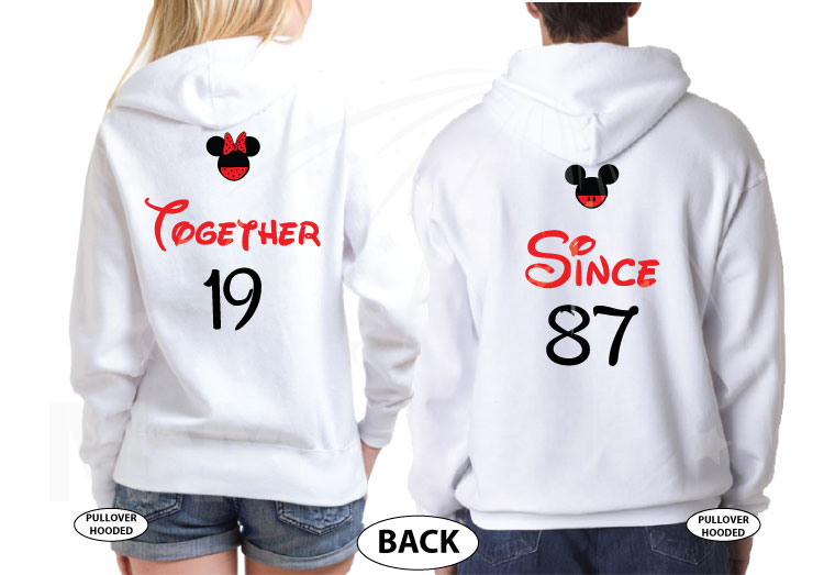 Disney Cute Matching Shirts Celebrating Our Anniversary Together Since (enter your year) Mickey Minnie Mouse Kissing married with mickey mwm white hoodies