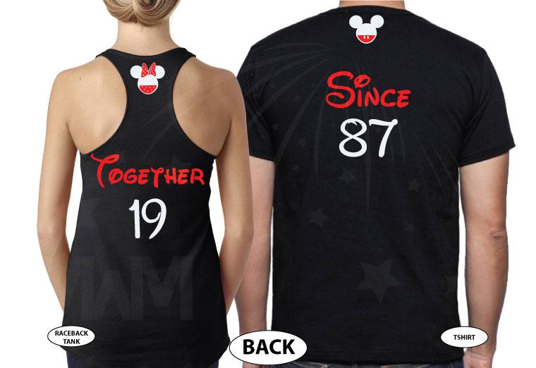 Disney Cute Matching Shirts Celebrating Our Anniversary Together Since (enter your year) Mickey Minnie Mouse Kissing married with mickey mwm black tees