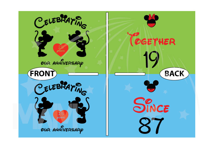 Disney Cute Matching Shirts Celebrating Our Anniversary Together Since (enter your year) Mickey Minnie Mouse Kissing married with mickey mwm