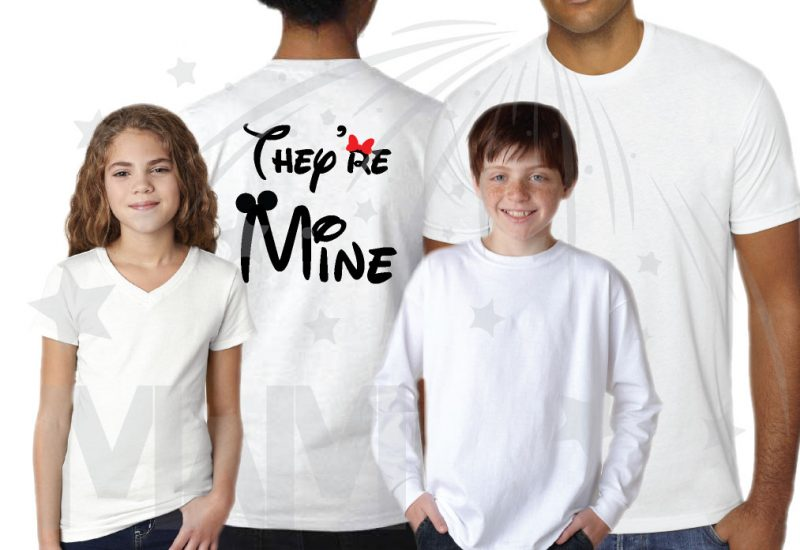 Family Disney I'm Hers, I'm His, They're Mine Matching Shirts married with mickey white shirts