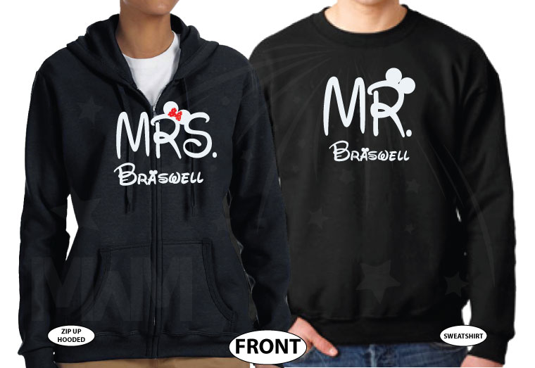 500412 Mr and Mrs Last Name Just Married Wedding Date Mickey Minnie Mouse Sitting Hugging on a Bench married with mickey black hoodies