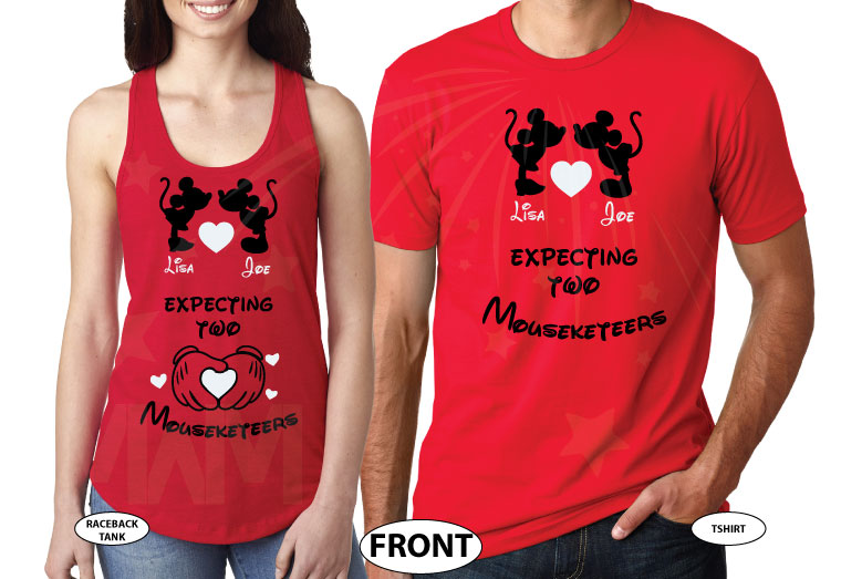 Mickey Minnie Mouse Cute Kiss Heart Custom Names, Expecting Two Mouseketeers Twins married with mickey red tee and tank