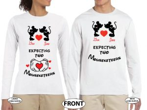 Mickey Minnie Mouse Cute Kiss Heart Custom Names, Expecting Two Mouseketeers Twins married with mickey white long sleeve