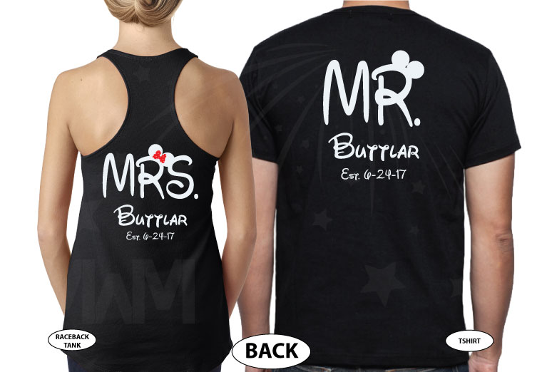 500204 Celebrating 1 year of Happily Ever After, Mr and Mrs Shirts Custom Last Name, Est. Wedding Date married with mickey MwM black tank and tshirt