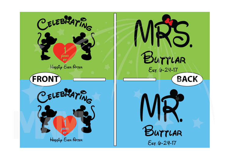 500204 Celebrating 1 year of Happily Ever After, Mr and Mrs Shirts Custom Last Name, Est. Wedding Date married with mickey MwM