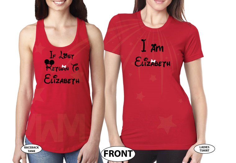 LGBT Lesbian If Lost Return To Elizabeth, Together Since 2016, Married With Mickey, The World's Cutest LGBT Couple Shirts married with mickey red tank top