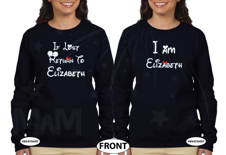 LGBT Lesbian If Lost Return To Elizabeth, Together Since 2016, Married With Mickey, The World's Cutest LGBT Couple Shirts married with mickey black sweaters