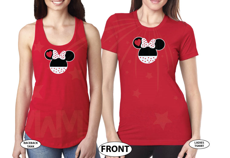 LGBT Lesbian Minnie Mouse Heads She's Mine I'm Hers Pointing Hands married with mickey red tee and tank