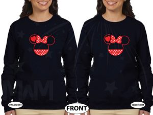 LGBT Lesbian Minnie Mouse Heads She's Mine I'm Hers Pointing Hands married with mickey black ladies long sleeves
