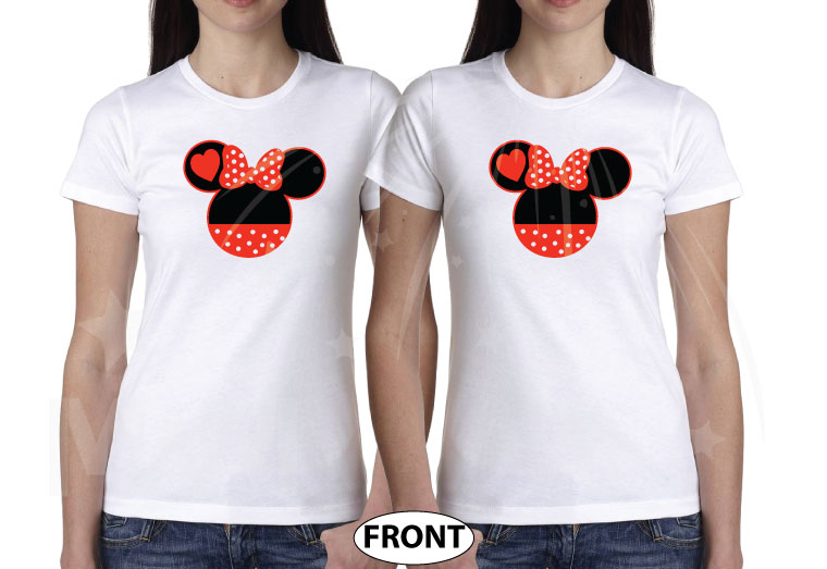 LGBT Lesbian Minnie Mouse Heads She's Mine I'm Hers Pointing Hands married with mickey white tshirts